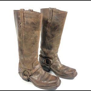 Frye Tall Brown Leather Distressed Harness Boots